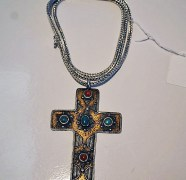 Turquoise & Coral Silver Cross Necklace