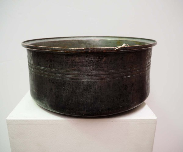 Antique metal homewares Ottoman period tinned copper bowl, dated 1834