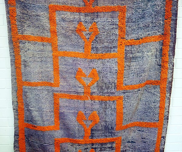 """Antique Nomadic Blanket/Rug from Konya central Anatolia """"Happy family motif"""" Approximately 70 years old"""