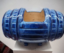 blue French Glazed jardiner, in the form of a barrel c.1920