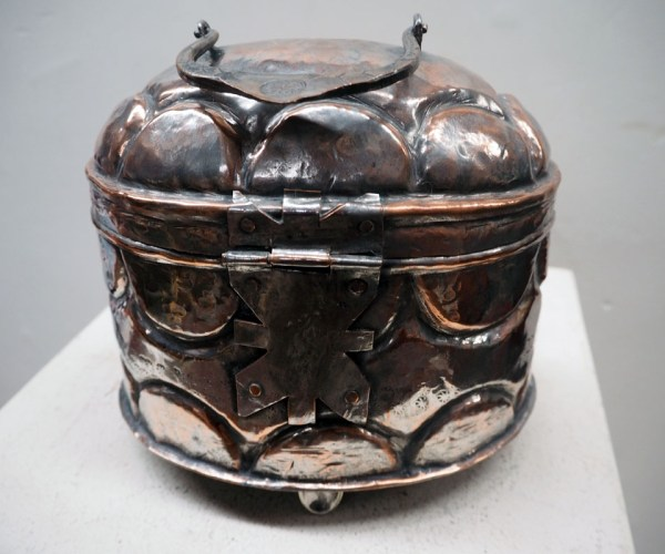 Ottoman period tinned copper Repoussee box, 19th century