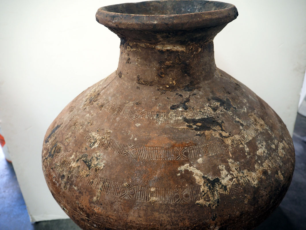 Ottoman Period Terracotta urn from Anatolia with a metal stand