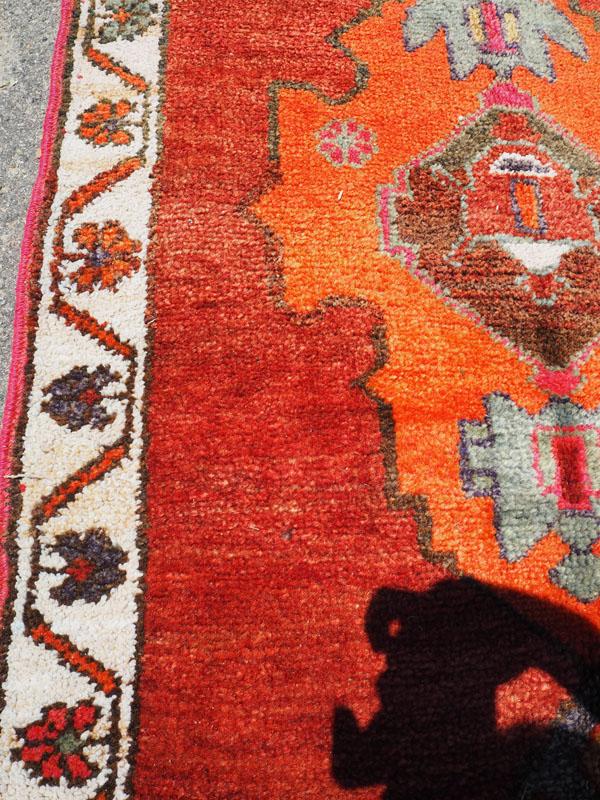 Hand knotted wool on wool Iraqi Kurdish Herki runner, 40 - 50 years old