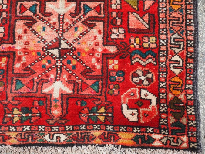 Double knotted hand made wool on wool Turkish runner Karaca, approximately 60 - 70 years old