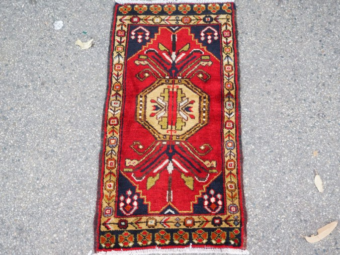 Double knotted hand made wool on wool Turkish carpet from Sivas. Approximately 40 years old
