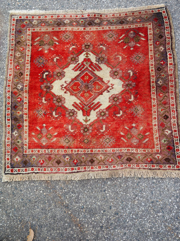 Double knotted hand made wool on wool Turkish carpet from Cappadoccia Avanos, approximately 80 years old