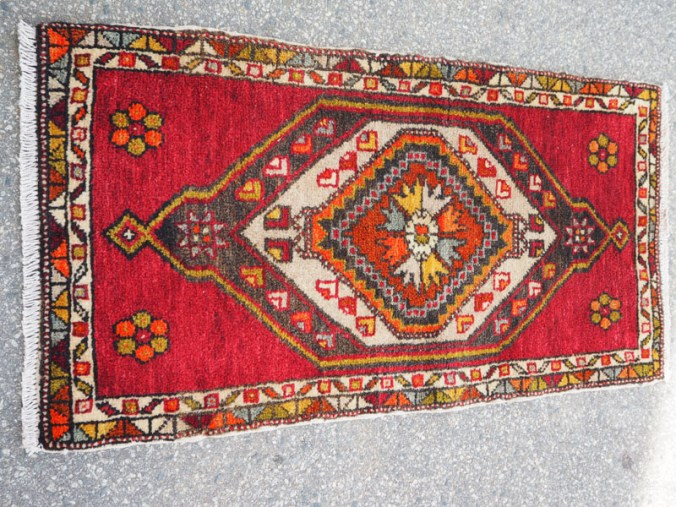 Double knotted hand made wool on cotton Turkish carpet from Denizle, approximately 40 - 50 years old