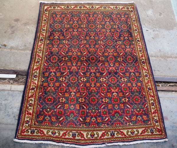 Hand knotted wool on cotton Persian carpet from Tabriz, approximately 50 years old