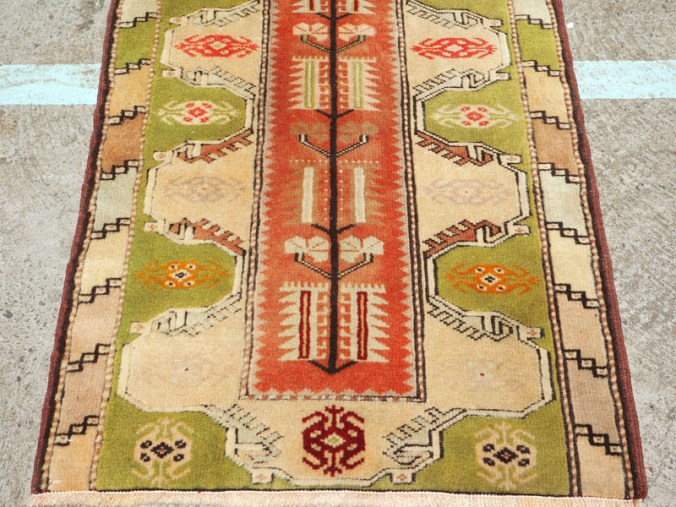 Double knotted hand made wool on wool Turkish carpet from Milas, approximately 40 years old