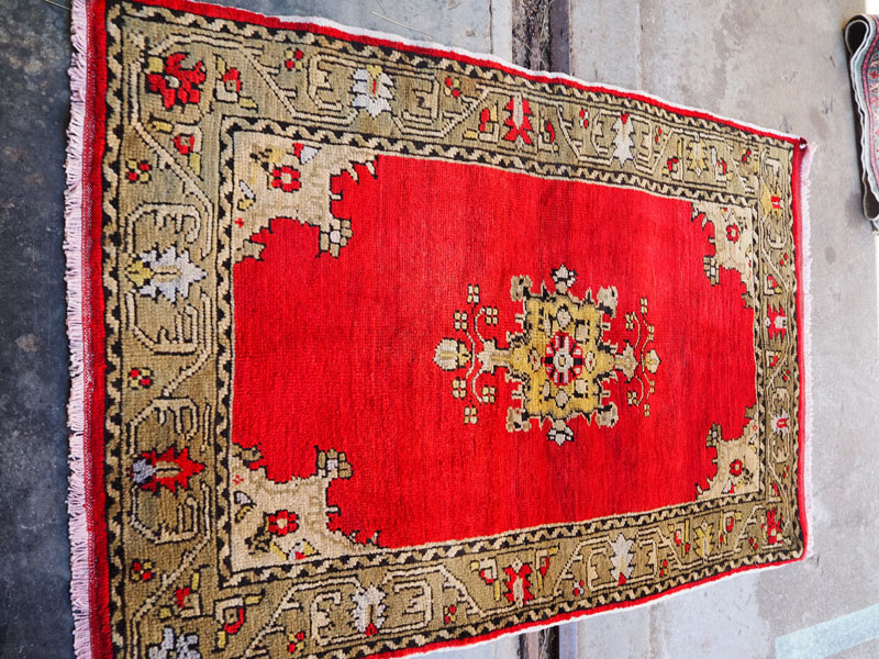 Double knotted hand made wool on wool Turkish carpet from Usak, approximately 50 years old