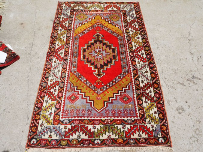 Double knotted hand made wool on wool Turkish carper from Nigde, approximatley 50 years old