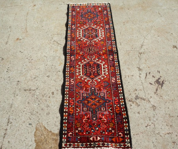 Double knotted hand made wool on wool Turkish runner from Karaca, approximately 30 years old
