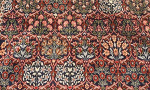 Fine Quality double knotted wool on cotton Turkish carpet from Hereke, approximately 40 - 50 years old, with a traditional watermelon flower design