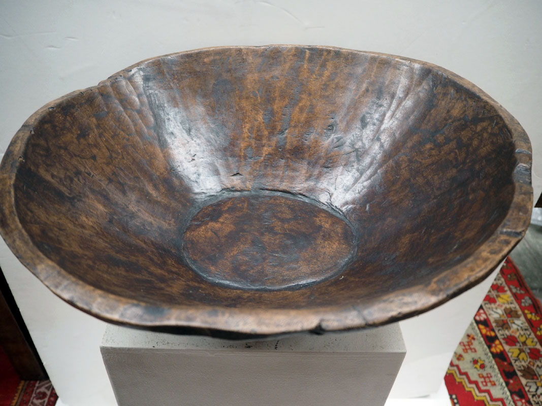 Ottoman period hand carved food bowl, 19th century plane tree