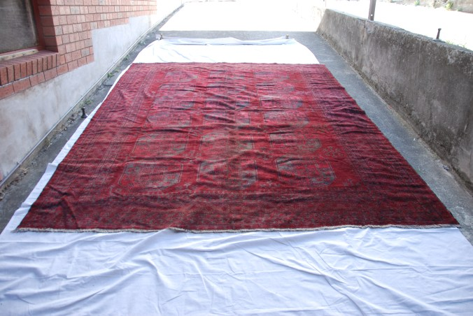 T804 Turkoman Ersari tribe hand knotted wool on wool carpet approximately 80-100 years old 3.43 x 2.67 $4,985
