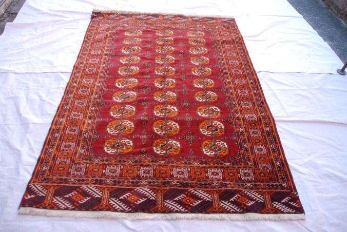 T781 Turkoman Tekke tribe Bokhara pattern carpet approximately 60 years old 1.9 x 1.27 $1795.00