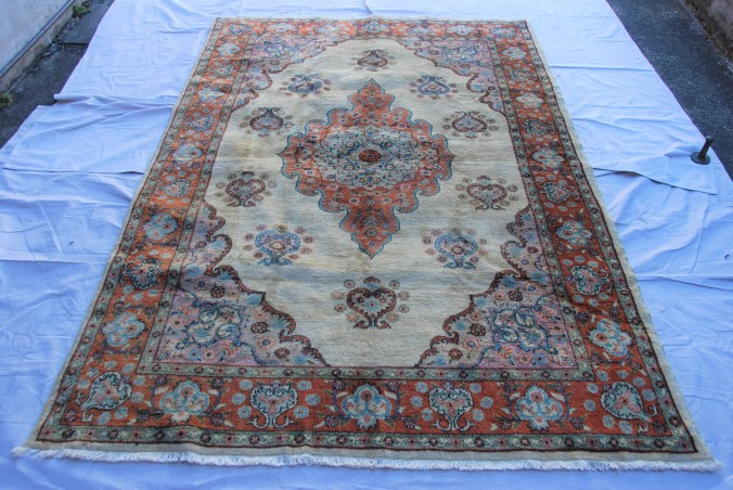 T808 Konya Ladik hand double knotted wool on cotton carpet approximately 30 years old  2.41 x 1.60 $1,195.00