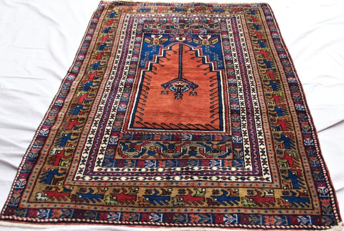 T829 Taspinar hand double knotted wool on wool carpet approximately 50 years old 1.85 x 1.1 $1,385.00