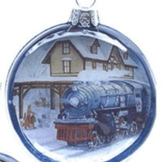 Otto's Granary Lionel Train at Train Station Glass Disc Ornament Case