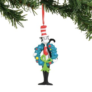 Otto's Granary Dr. Seuss Cat in The Hat with Wreath Ornament by Dept 56
