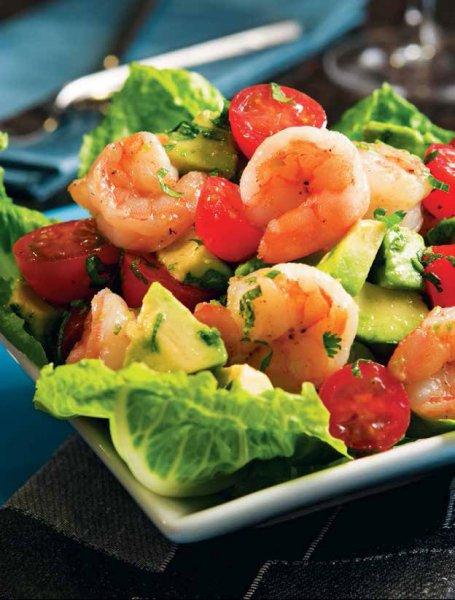 Салат с помидорами черри и креветками