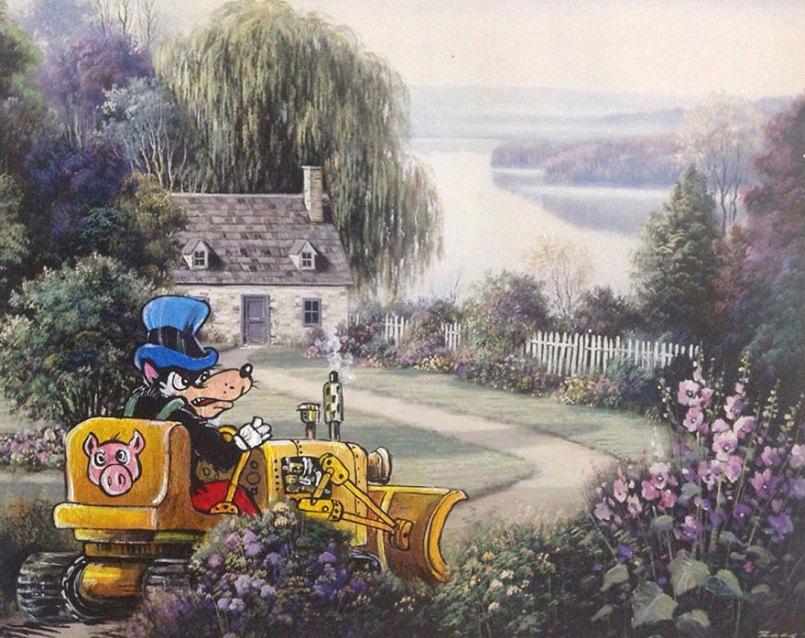 герои с=мультфильмов в сельском пейзаже