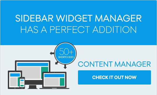Sidebar & Widget Manager for WordPress 4