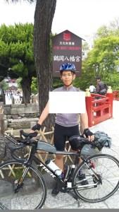 鎌倉八幡宮でのロードバイクとの記念撮影