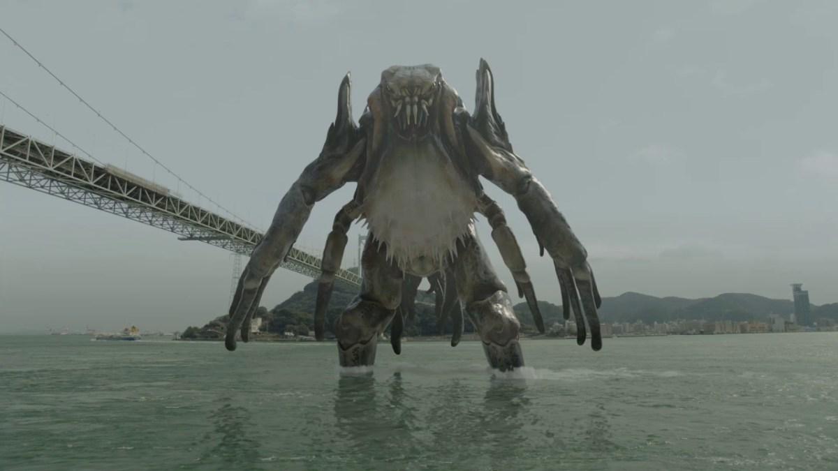 Un monstre du style Godzilla attaque les villes de Kitakyushu And Shimonoseki