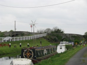 # 26 - Looking back west at the double arched Killyon Bridge... good selection of boats and barges moored here.