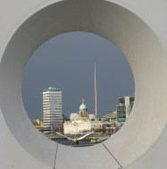 Dark clouds, grey skies... the view through the hole in the Samuel Beckett Bridge over the Liffey in Dublin