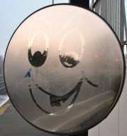 Smiley platform mirror... who's the joker?