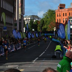 The home straight... less than 50 meters to go at this stage of the 2013 Dublin Marathon