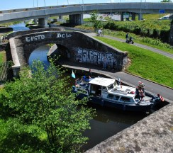 This old bridge on the Royal Canal seems lost in the middle of the concrete mess that's now the M50 roundabout...