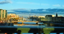 Looking out toward the Dublin Docks from the train... the window ads its own effect...