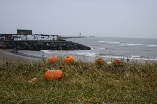 The aftermath of holloween as seen near the Poolbeg Lighthouse and the Great South Wall in Dublin...