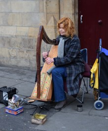 How Irish can you get?? Ginger harp player busking in Dublin!