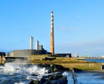 Iconic Dublin landmark... the Poolbeg Chimneys... with the Dublin Port in the right background...