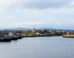 Arklow - the Avoca River opens up just before reaching the sea... looking back toward the distant Wicklow Mountains...