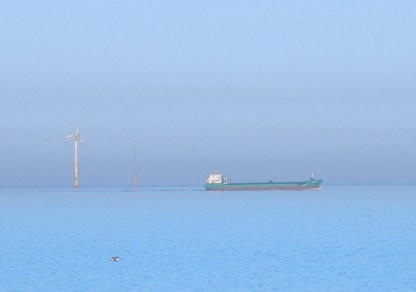 Ships at sea... the Arklow Bridge passes the south Arklow Bank wind turbine...