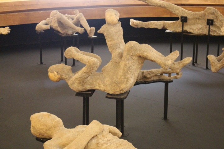 Plaster casts of bodies buried under ash