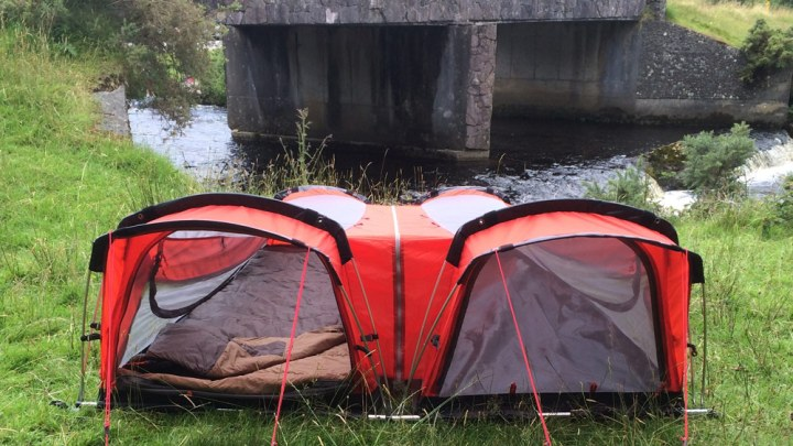 Tent includes insulated mattress and built in sleeping bag!