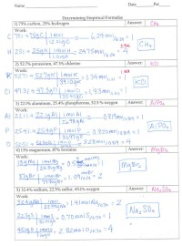 Empirical Formula Worksheet Answers