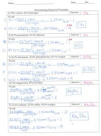Empirical Formula Worksheet Answers