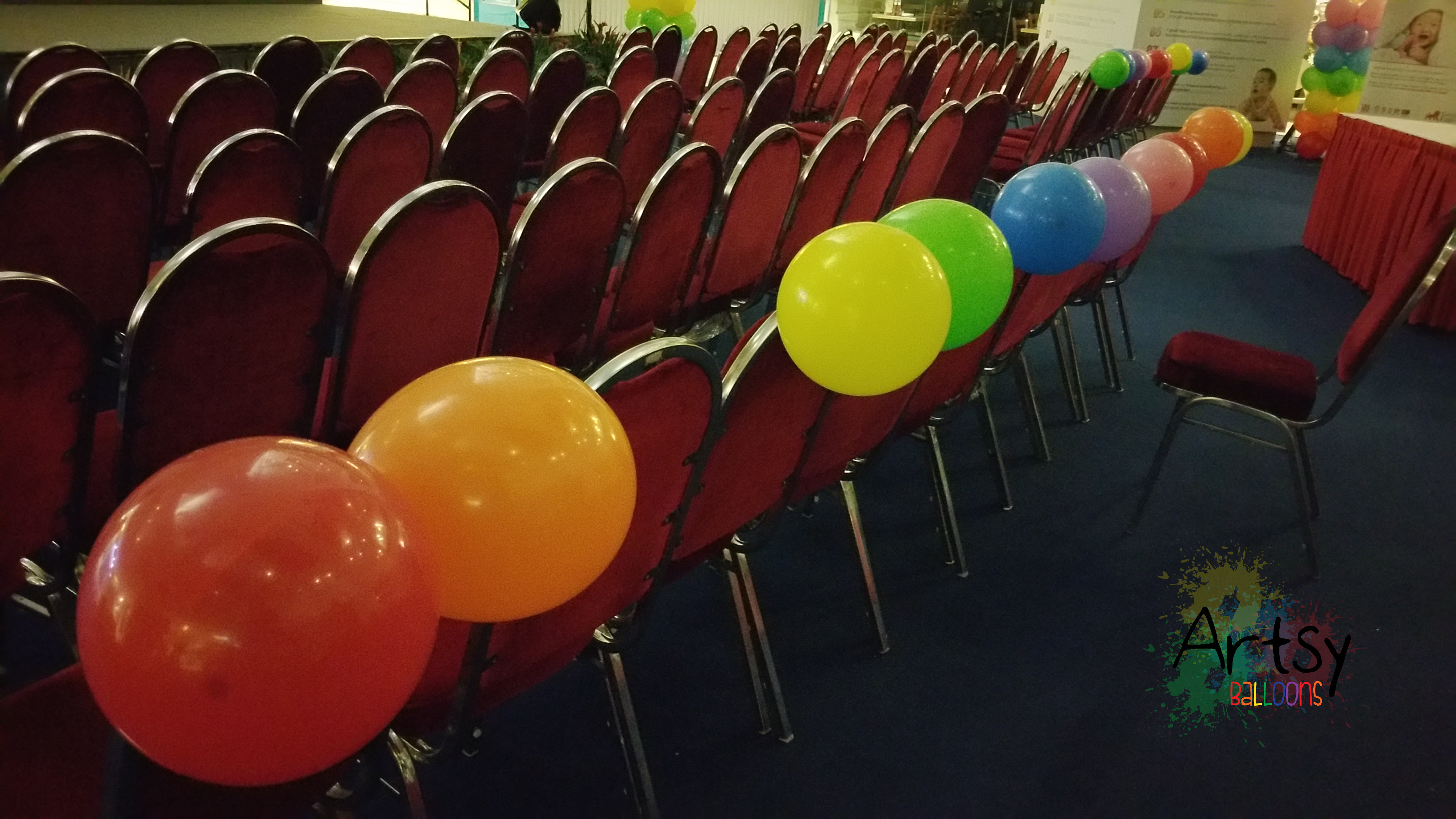 chair with balloons revolving repair in gurgaon rainbow tied to singapore balloon decoration