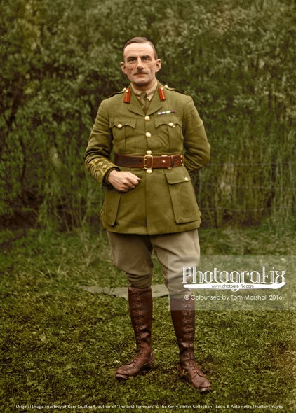 """""""He is wearing the Military Cross medal ribbon, but I have not been able to work out the other ribbons. Based on his age, rank and the shades of grey, I have painted these as Boer War campaign medals, though this is merely speculation as I don't know his identity."""""""