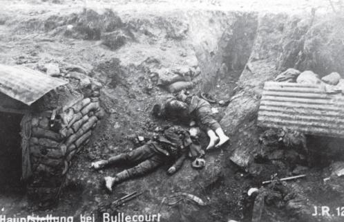 British dead from the 62nd (West Riding) Division left behind in the German trenches after one of the failed attacks at The Battle of Arras. Courtesy of Paul Reed at www.greatwarphotos.com