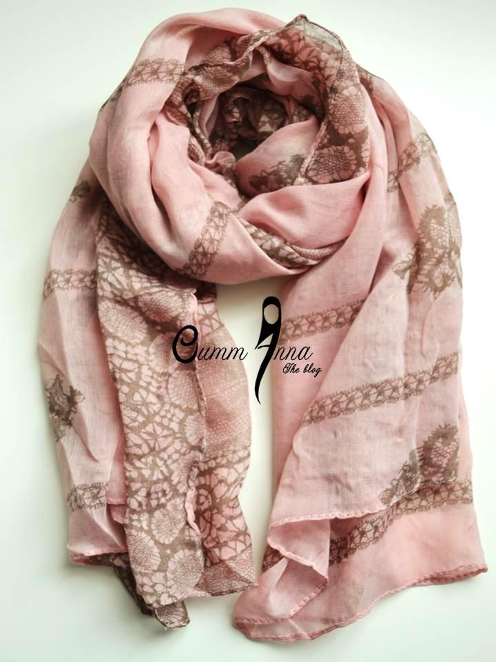 Pink Crazy Lace Maxi Hijab