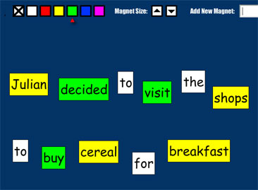 sentence with nouns and verbs highlighted