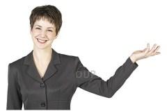 Female teacher holding out her left arm